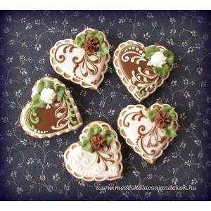 Csokoládé-fehér esküvői köszönetajándék szívek