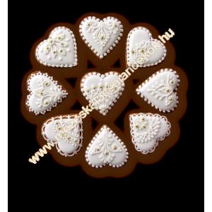 Fehér csipkés köszönetajándék szív gyöngyökkel