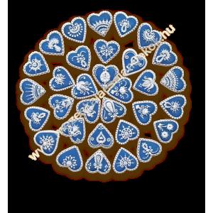 Kicsi kék csipkés mézeskalács köszönetajándék szívek