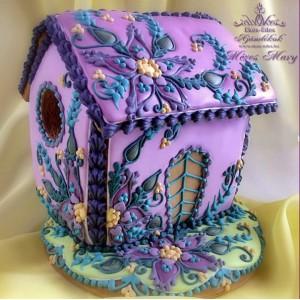 Lila virágos mézeskalács házikó