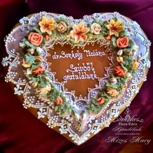 Rózsás liliomos nagy szív