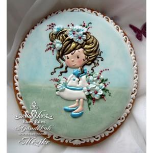 Kislány virággal mézeskalács plakett